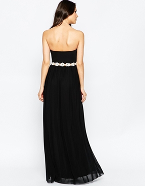 photo Sweetheart Maxi Dress with Daisy Trim by Rare, color Black - Image 2