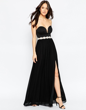 photo Sweetheart Maxi Dress with Daisy Trim by Rare, color Black - Image 1