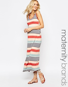 photo Maternity Shelley Tank Maxi Jersey Dress by Ripe, color Terracotta - Image 1
