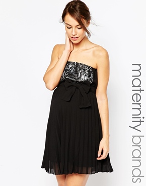 photo Maternity Sophie Strapless Dress with Sequin Panel by Ripe, color Black - Image 1
