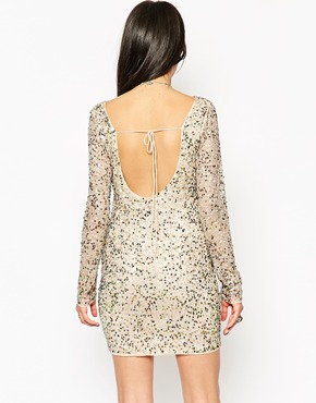 photo Rock & Religion Embellished Long Sleeve Bodycon Dress with Scoop Back, color Nude - Image 2