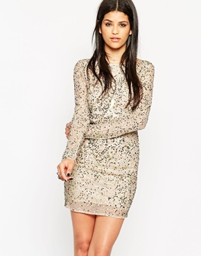 photo Rock & Religion Embellished Long Sleeve Bodycon Dress with Scoop Back, color Nude - Image 1