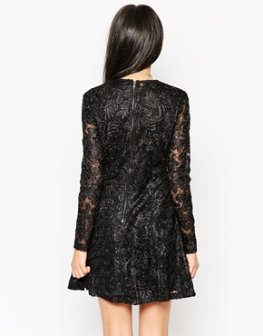 photo Rock & Religion Long Sleeve Lace Skater Dress with High Neck, color Black - Image 2