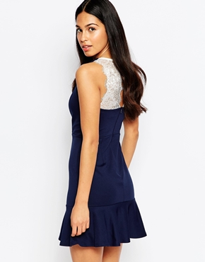 photo Floronce Dress with Deep Lace Plunge Detail by Rosie Fortescue, color Navy Cream - Image 2
