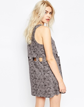 photo Cut Out Detail Skater Dress by RVCA, color Gray Ice - Image 2