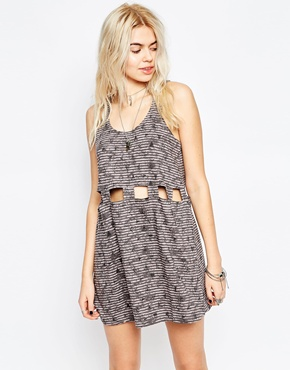 photo Cut Out Detail Skater Dress by RVCA, color Gray Ice - Image 1
