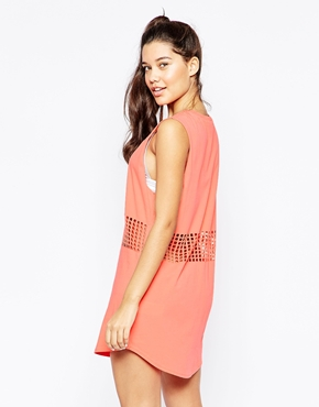 photo Short Sleeve Dress with Mesh Detail by RVCA, color Peach Out - Image 2