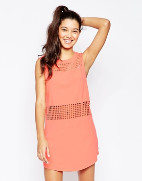 photo Short Sleeve Dress with Mesh Detail by RVCA, color Peach Out - Image 1