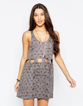 photo Sundress with Cut Out Detail by RVCA, color Gray Ice - Image 1