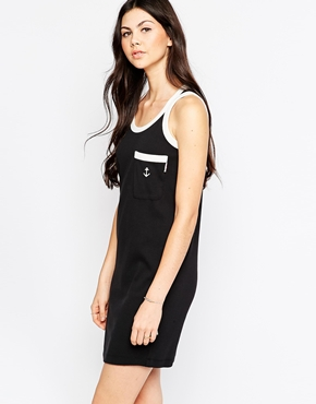 photo Anchor Pocket T-Shirt Dress with Contract Trim by See by Chloe, color Black and White - Image 1
