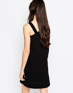 photo See By Chloe Asymmetric Dress with Tied Sleeve, color Black - Image 2