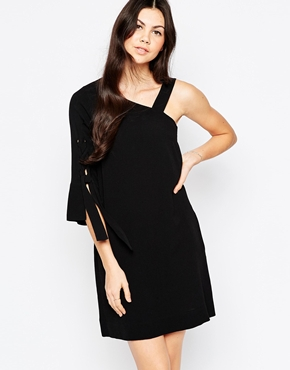 photo See By Chloe Asymmetric Dress with Tied Sleeve, color Black - Image 1