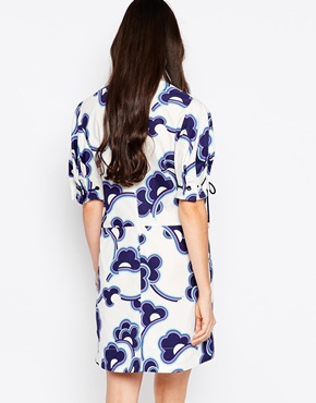 photo Cloud Print Shift Dress with Tie Up Sleeves by See by Chloe, color White - Image 2