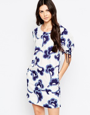 photo Cloud Print Shift Dress with Tie Up Sleeves by See by Chloe, color White - Image 1