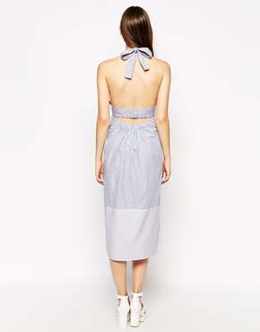photo Halterneck Dress by See by Chloe, color Blue Stripe - Image 2