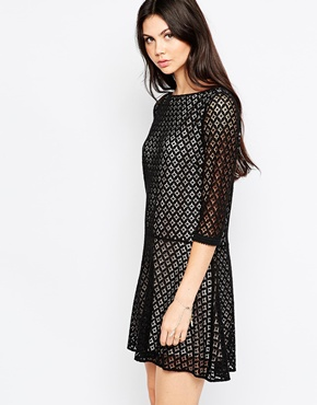 photo Lace Dress with Drop Hem by See by Chloe, color Black - Image 1
