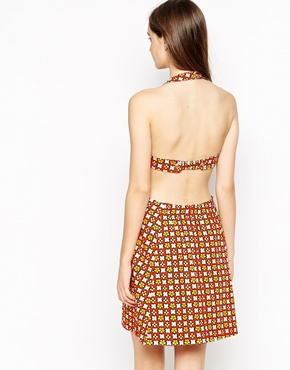 photo Printed Halterneck Dress by See by Chloe, color Yellow Orange - Image 2