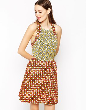 photo Printed Halterneck Dress by See by Chloe, color Yellow Orange - Image 1