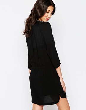 photo Shirt Dress with Embellished Collar by See U Soon, color Black - Image 2