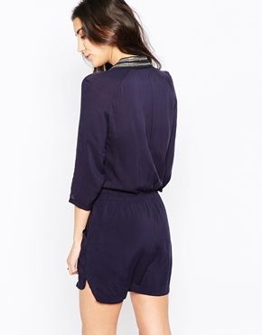 photo Shirt Dress with Embellished Collar by See U Soon, color Navy - Image 2