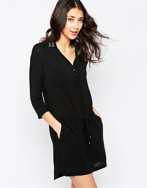photo Shirt Dress with Embellished Collar by See U Soon, color Black - Image 1