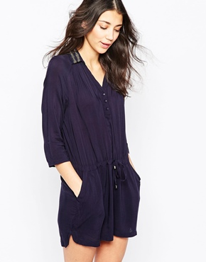 photo Shirt Dress with Embellished Collar by See U Soon, color Navy - Image 1