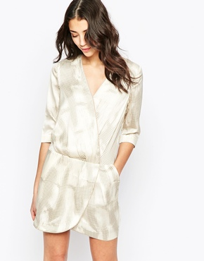 photo Wrap Front Dress in Distressed Dogtooth Print by See U Soon, color Beige - Image 1