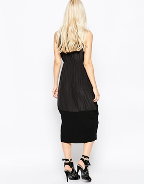 photo Catherine Sleeveless Pleated Pencil Dress with Knitted Trim by Shae, color Black - Image 2
