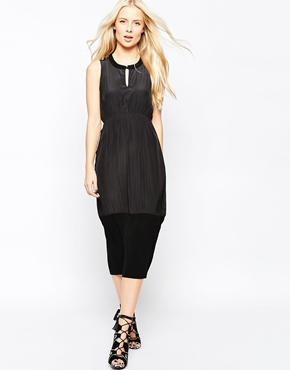 photo Catherine Sleeveless Pleated Pencil Dress with Knitted Trim by Shae, color Black - Image 1