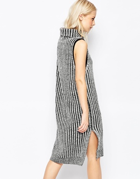 photo Fallon Sleeveless Turtleneck Ripped Dress by Shae, color Off White Combo - Image 2