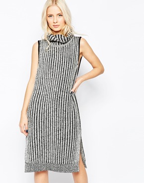 photo Fallon Sleeveless Turtleneck Ripped Dress by Shae, color Off White Combo - Image 1