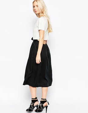 photo Olivia Midi Skater Dress with Knit Top and Open Drop Back by Shae, color Black Combo - Image 2