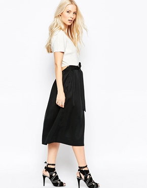 photo Olivia Midi Skater Dress with Knit Top and Open Drop Back by Shae, color Black Combo - Image 1