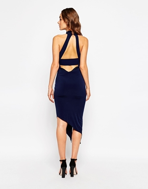 photo Ayanah Mid Length Dress with Extreme Thigh Split by Sistaglam, color Navy - Image 2