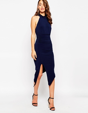 photo Ayanah Mid Length Dress with Extreme Thigh Split by Sistaglam, color Navy - Image 1