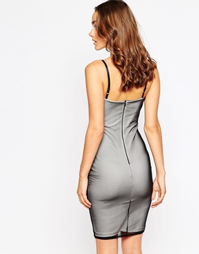 photo Bea Cami Midi Dress with Embroirdered Mesh Overlay by Sistaglam, color Nude Black - Image 2