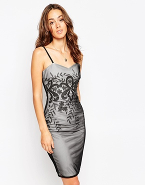 photo Bea Cami Midi Dress with Embroirdered Mesh Overlay by Sistaglam, color Nude Black - Image 1