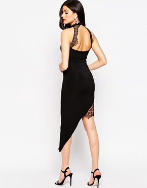 photo Kelis Asymmetric Dress with High Neck and Lace Insert by Sistaglam, color Black - Image 2