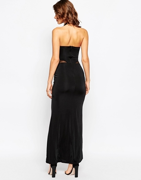 photo Nivanna Maxi Dress with Sheer Panels by Sistaglam, color Black - Image 2