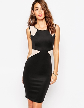 photo Yanah Bodycon Midi Dress with Mesh Panels by Sistaglam, color Black Nude - Image 1