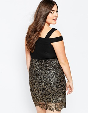 photo Dress with Metallic Lace Skirt by So London Plus, color Black Gold - Image 2