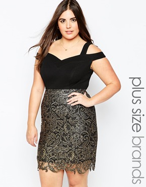 photo Dress with Metallic Lace Skirt by So London Plus, color Black Gold - Image 1