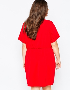 photo Dress with Wrap Skirt by So London Plus, color Red - Image 2