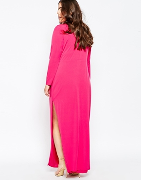 photo Maxi Dress with Long Sleeves and Side Split by So London Plus, color Pink - Image 2