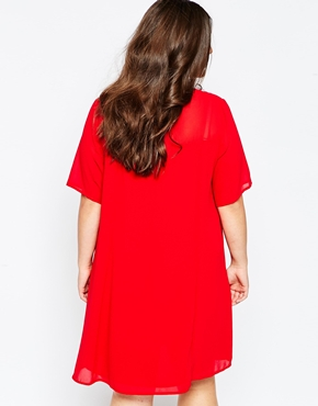 photo Swing Dress with Mesh Neckline by So London Plus, color Red - Image 2