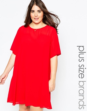 photo Swing Dress with Mesh Neckline by So London Plus, color Red - Image 1