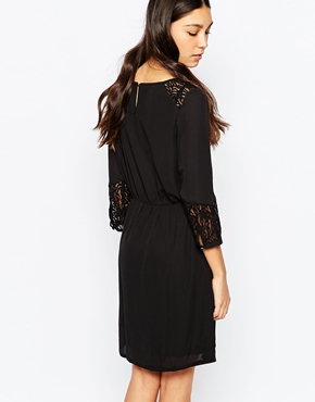 photo 3/4 Sleeve Shift Dress with Embroidered Sleeves by Soaked in Luxury, color Black - Image 2
