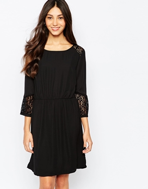 photo 3/4 Sleeve Shift Dress with Embroidered Sleeves by Soaked in Luxury, color Black - Image 1