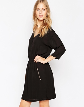 photo 3/4 Sleeve Wrap Front Dress by Soaked in Luxury, color Black - Image 1