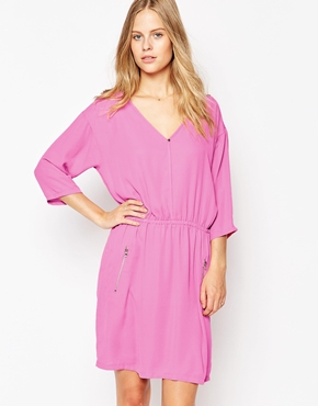 photo 3/4 Sleeve Wrap Front Dress by Soaked in Luxury, color Very Berry - Image 1